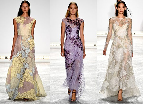 2015紐約春夏時裝週,Monique Lhuillier品牌秀。(大紀元合成圖/Getty Images)