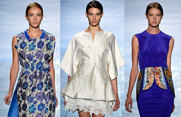 2015紐約春夏時裝週,韓國設計師李相奉品牌秀,融合了蝴蝶、雲彩、花瓣等華麗的視覺元素。設計師希望通過輕柔的質料,配合亮麗的藍色、紫色和白色等,傳達出未來的希望。(大紀元合成圖/Getty Images)