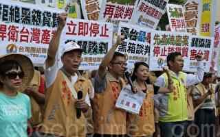 台联组织部副主任张兆林等在警方拒马前宣示抗议表达诉求。(曾汉东/大纪元)