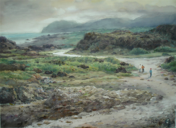 陳品華《三仙勝景之二》76×56cm 1993。(圖:中華亞太水彩藝術協會提供)