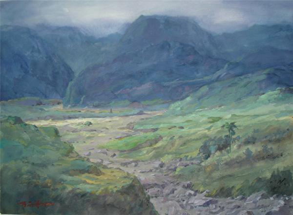 陳品華《都蘭關》76×56cm 1990。(圖:中華亞太水彩藝術協會提供)