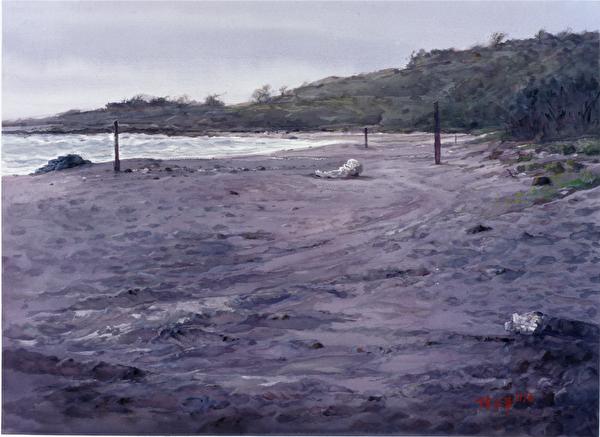 陳品華《靜默的海灣》76×56cm 1996。(圖:中華亞太水彩藝術協會提供)