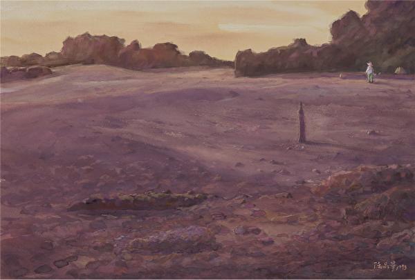 陳品華《三仙幻境》56×38cm 1993。(圖:中華亞太水彩藝術協會提供)