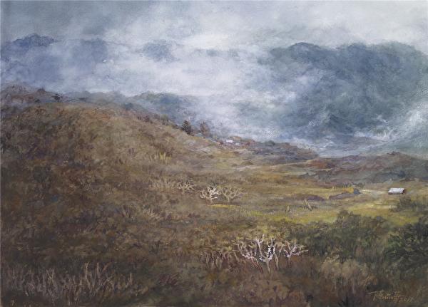 陳品華《那年冬天》76×56cm 2011。(圖:中華亞太水彩藝術協會提供)