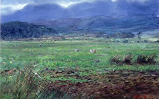 陈品华《春田》76×56cm 1996。(图:中华亚太水彩艺术协会提供)