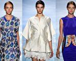 2015纽约春夏时装周,韩国设计师李相奉品牌秀,融合了蝴蝶、云彩、花瓣等华丽的视觉元素。设计师希望通过轻柔的质料,配合亮丽的蓝色、紫色和白色等,传达出未来的希望。(大纪元合成图/Getty Images)
