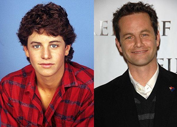 """《成长的烦恼》中的""""捣蛋迈克""""柯克·卡梅隆(Kirk T. Cameron)与剧中饰演他女友的切茜亚·诺宝(Chelsea Noble)结婚。两人育有三个孩子,幸福地生活在加州。(大纪元合成图)"""