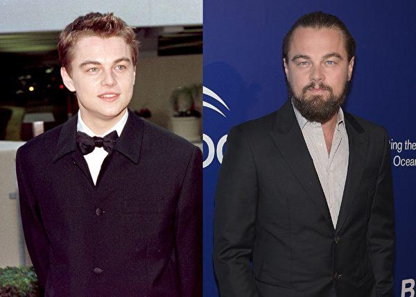 """童星出道、曾主演《泰坦尼克号》的莱昂纳多·迪卡普里奥(Leonardo DiCaprio)已走过""""顽皮正太""""和""""青春偶像""""阶段。(大纪元合成图)"""