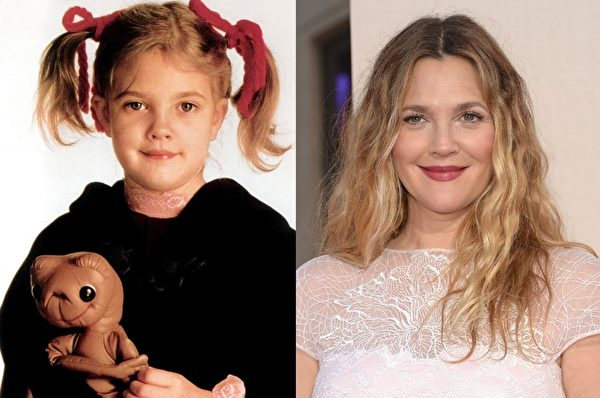 出身演艺世家的德鲁·巴里摩尔(Drew Barrymore)凭借《ET外星人》蹿红,曾因酗酒和毒品二度接受勒戒,后出版自传《迷失的小女孩》。她成功转型成浪漫喜剧女演员,新近还当了妈妈。(大纪元合成图)