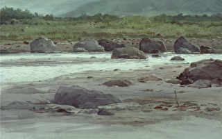 陈品华《溪石对语》 76×56cm 2005(图:中华亚太水彩艺术协会提供)
