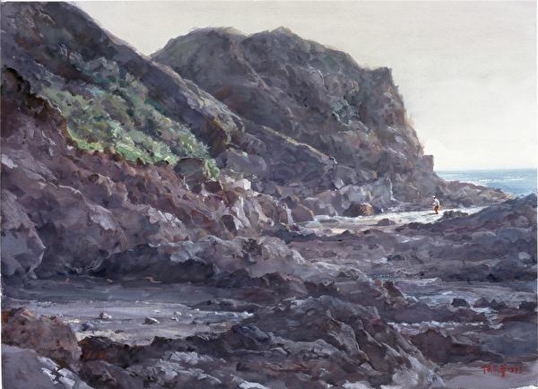 陈品华《巨岩的心》__76×56cm_1993(图:中华亚太水彩艺术协会提供)