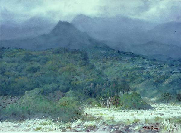 陳品華《山語》 76×56cm_1998(圖:中華亞太水彩藝術協會提供)