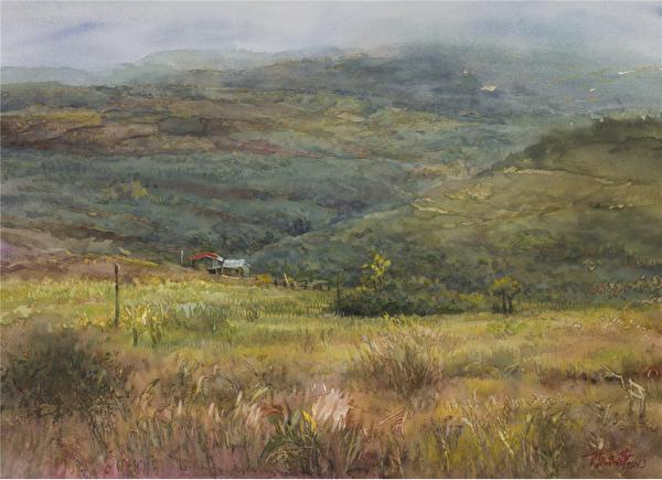 陳品華《秋雨來過》 76×56cm 2013(圖:中華亞太水彩藝術協會提供)