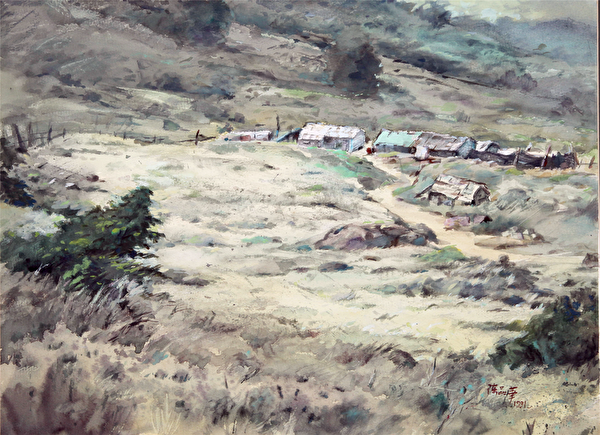 陳品華《它們的故事一》 76×56cm 1991(圖:中華亞太水彩藝術協會提供)