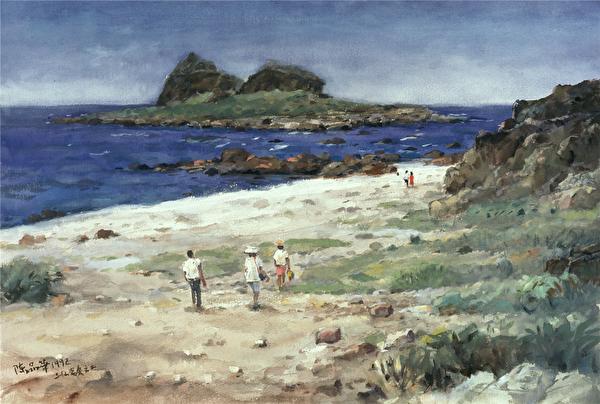 陳品華《三仙變奏之二》 76×56cm 1992(圖:中華亞太水彩藝術協會提供)