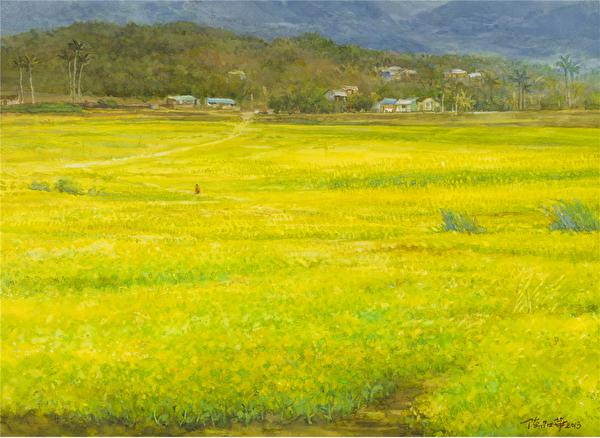陈品华《池上油菜花海》 76×56cm 2013(图:中华亚太水彩艺术协会提供)