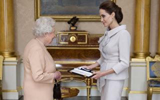 """2014年10月10日,安吉丽娜•朱莉从英女王手中接过""""爵级大十字勋章""""。(Anthony Devlin - WPA Pool/Getty Images)"""