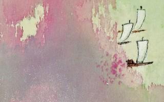 山水小條幅 春(不織布)11×58cm(圖片來源:畫家提供)
