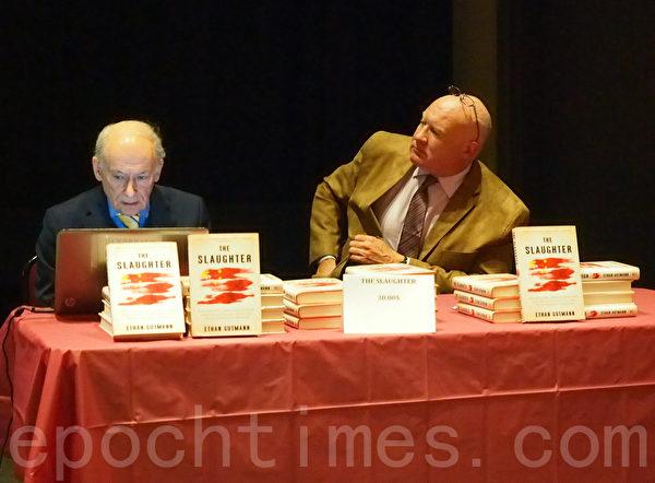 伊森‧葛特曼(右)和大衛‧麥塔斯在演講後回答聽眾的問題。 (Nathalie Dieul/大紀元)