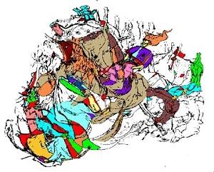 法国三兄弟洞窟发现的石板壁画,复杂的动物图形中有一个骑士(图片提供:Jiri Mruzek)