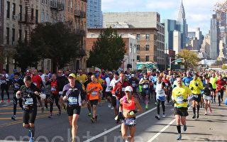 2014年纽约马拉松11月2日在大风和低温中如期举行。(杜国辉/大纪元)