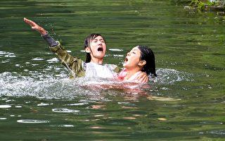 翁滋蔓在劇中不慎落水,葛蕾巧遇下水搶救。(三立提供)