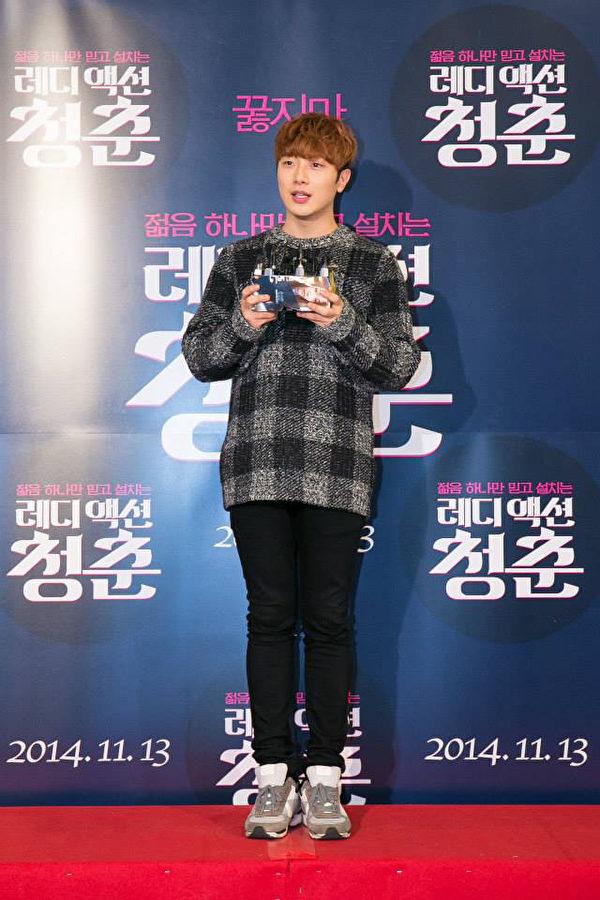 《骚动青春》韩国试片会,FTIsland成员崔敏焕也来为他自己的团员站台打气。(天马行空提供)