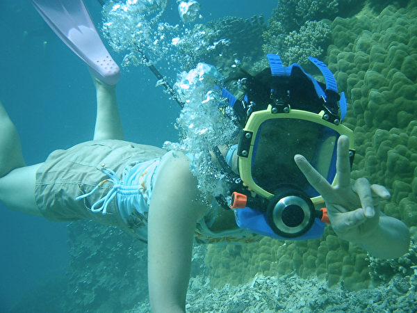 日本沖繩宮古島海水晶瑩透徹,海裡有100種以上的熱帶魚和70種以上的珊瑚礁。遊客可以在導遊的保護下潛水觀賞熱帶魚和活珊瑚。(由宮古島「Eco Guide Cafe」提供)