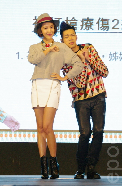 陳大天於2014年11月11日在台北舉辦《陳大天 告白日記》專輯記者會。女王楊謹華特為站台力挺。(黃宗茂/大紀元)
