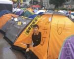 周锋锁在金钟住的帐篷。(周锋锁提供)