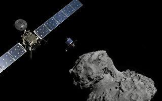 11月10日,欧洲空间局的无人科学探测船罗塞塔(Rosetta 左)和菲莱(Philae)登陆器准备登陆67P/Churyumov- Gerasimenko彗星。(ESA via Getty Images)