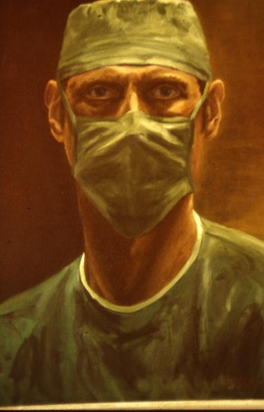 """抱着治病救人的雄心从事外科职业的西格尔医生,曾因""""回天无力""""而严重抑郁。这幅自画像使他看到封闭冷酷的自己而决定寻求帮助,后来成为传播爱的使者。(Bernie Siegel提供)"""
