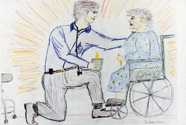 """西格尔曾让一些医学生画自己职业的素描,""""有人画自己坐在桌子后,墙上是毕业证书;有人将穿着白大褂的自己画在云雾里。我喜欢的是这张:病人坐在轮椅上,医生半跪着握其手的图,这才是医生需要做的——关心与爱。这些应该作为医学教育的一部分。""""(Bernie Siegel提供)"""