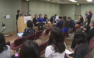 亞美公義促進中心提醒亞裔無證移民關注奧巴馬移民政策行政令。(鄭浩/大紀元)