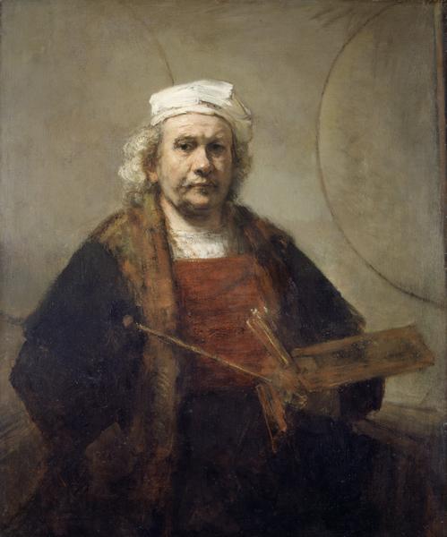 伦勃朗的自画像(约1665-9)布面油画(英国国家美术馆提供)