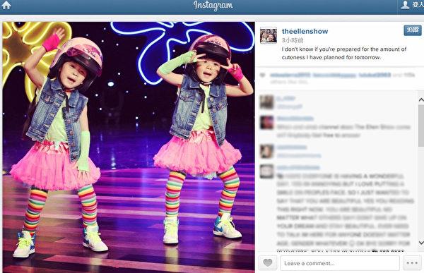 台灣超萌雙胞胎左左右右在艾倫秀做表演。(豐華提供)