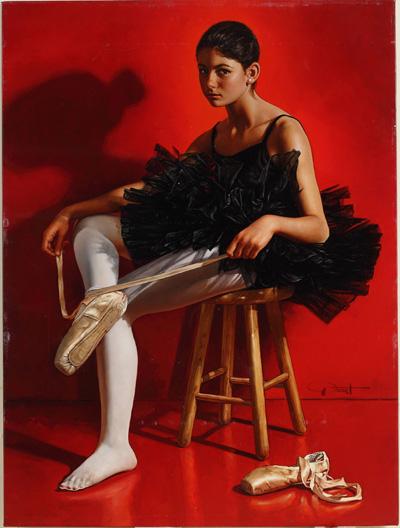 """西班牙画家皮卡特(Gabriel Picart)的作品《芭蕾舞演员阿莱格拉的肖像》(Allegra's Portrait as Ballerina),荣获新唐人第四届""""全世界人物写实油画大赛""""银奖。(Gabriel Picart提供)"""