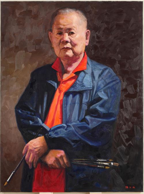 台湾画家陈火木的画作《自画像》获得铜奖。(陈火木提供)