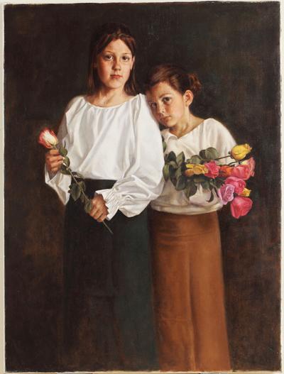 美国画家Daniel Murri的画作《卖花的女孩》(Flower Girls)获得杰出人文奖。(Daniel Murri提供)