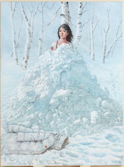 中国画家郝秋燕的画作《傲雪》获得杰出人文奖。(郝秋燕提供)