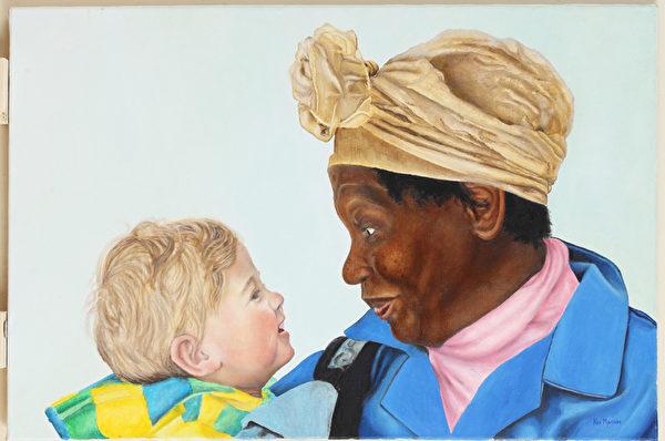 南非画家Kim Myerson的画作《爱之纯粹》(Unconditional Love)获得杰出人文奖。(Kim Myerson提供)