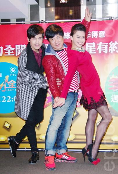 (左起)GINO、胡瓜、侯怡君出席餐会。(黄宗茂/大纪元)