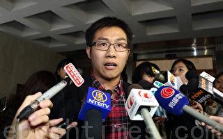 其中一名答辩人、社民连副主席黄浩铭要求清楚交代协助执行临时禁制令人士的身份。(蔡雯文/大纪元)