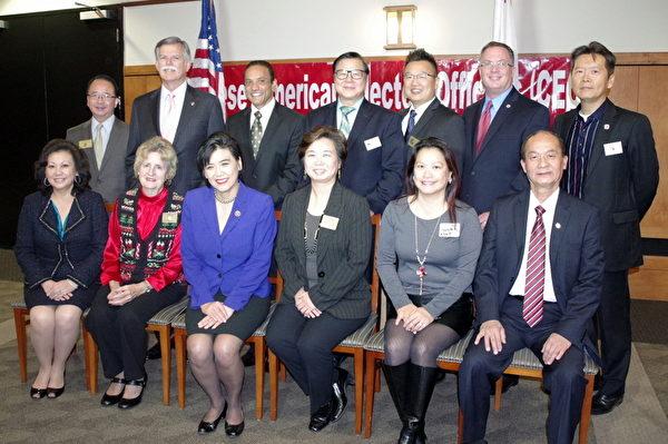 12月5日,美国华裔民选官员协会(CEO)在柔斯密市嘉伟中心(Garvey Center)举行年末聚会,答谢各界支持,同时探讨如何鼓励更多华裔选民出来投票。(刘菲/大纪元)