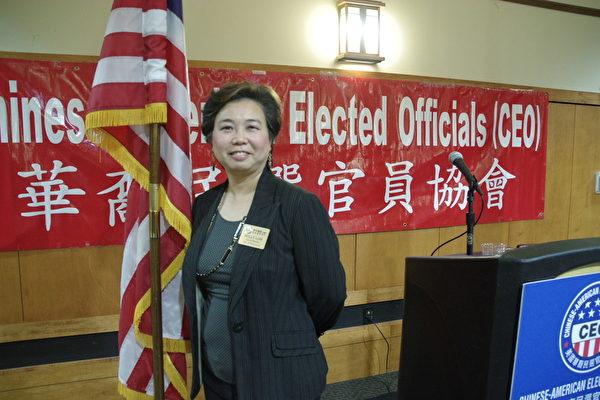 美国华裔民选官员协会会长劳朱嘉仪(Polly Low)将参加2015年3月地方选举,竞选连任柔斯密市议员。(刘菲/大纪元)