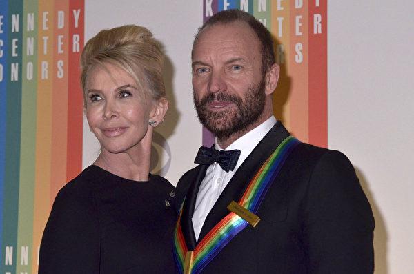 斯汀与夫人。(Kris Connor/Getty Images)