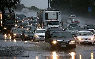 """国家气象局说,周四(11日),一个强有力的由热带湿气""""大气河""""(atmospheric river)带来的暴风雨不仅将席卷干旱肆虐的加州,以至整个美国西部沿海地区。图为2014年12月11日旧金山湾区遭到暴风雨的袭击,造成树木倾倒、公路积水、交通堵塞。(Justin Sullivan/Getty Images)"""