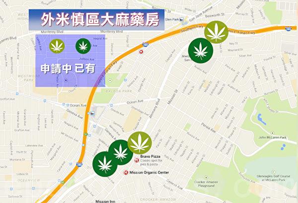 外米慎区已有和申请新开的大麻店地图。(大纪元制图)