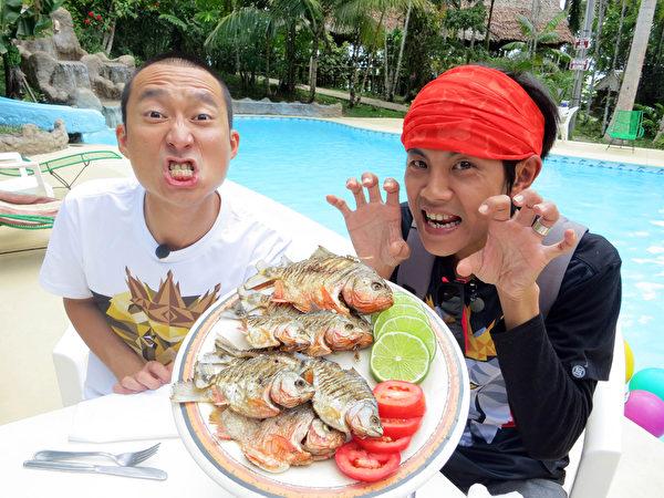 浩角翔起吃食人鱼大餐。(联意制作提供)