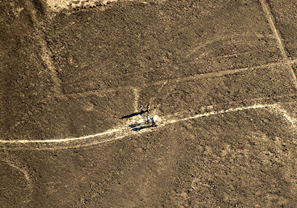 秘鲁地表图案中,人类看起来很渺小。(MARTIN BERNETTI/AFP)